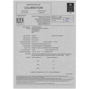 Certificat calibration 3 points UKAS