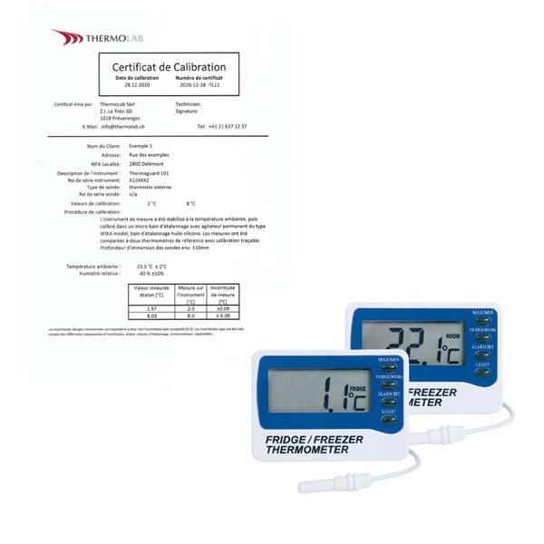 Thermomètre calibré 2 points pour vaccin